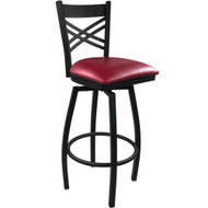 Advantage Cross Back Metal Swivel Bar Stool - Burgundy Padded [SBXB-BFRV]