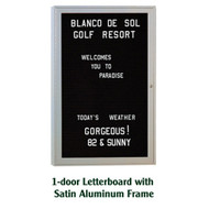 Ghent 24x18-inch Enclosed Black Letter Board - Satin Aluminum Frame [PA12418B-BK]