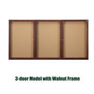 Ghent 36x72-inch Enclosed Cork Bulletin Board - Walnut Frame [PN33672K]