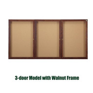 Ghent 48x96-inch Enclosed Cork Bulletin Board - Walnut Frame [PN34896K]