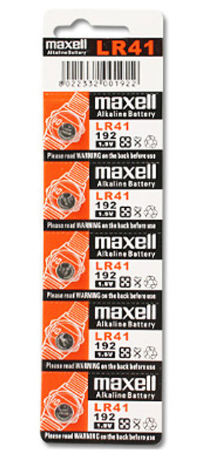 Maxell LR41 Alkaline 1.5V Coin Cell Battery (AG3 392 192)