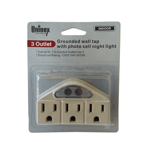 3 OUTLET GROUNDED WALL TAP WITH PHOTO CELL NIGHT LIGHT