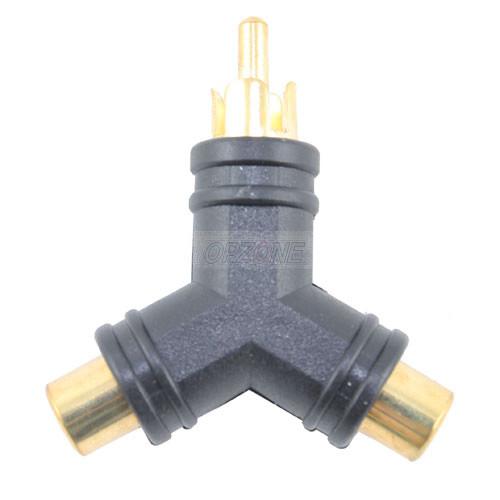 """Y"" RCA Adapter: 1 RCA Plug to 2 RCA Jacks"