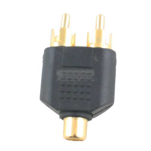 """Y"" RCA Adapter: 1 RCA Jack to 2 RCA Plugs"
