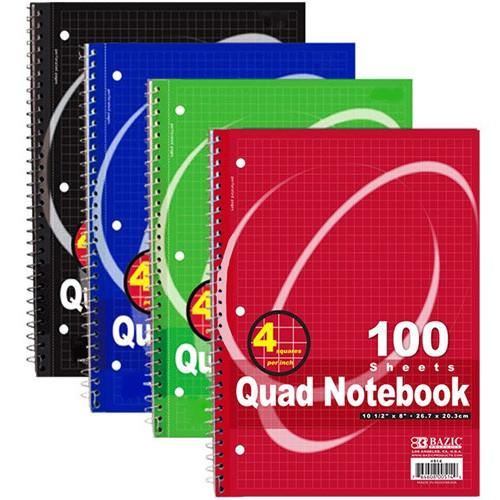 "BAZIC 100 Ct. Quad-Ruled 4-1"" Spiral Notebook"
