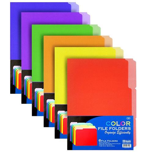 1/3 Cut Letter Size Color File Folder (6/Pack)