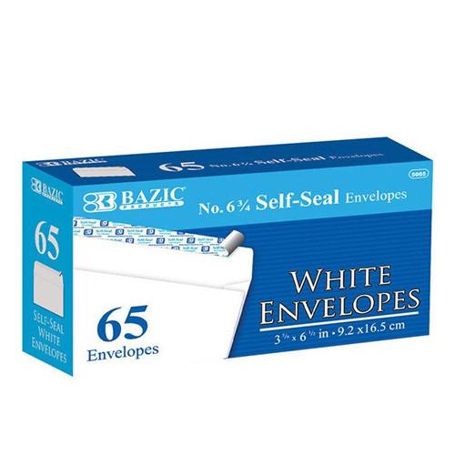 BAZIC #6 3/4 Self-Seal White Envelope (65/Pack)
