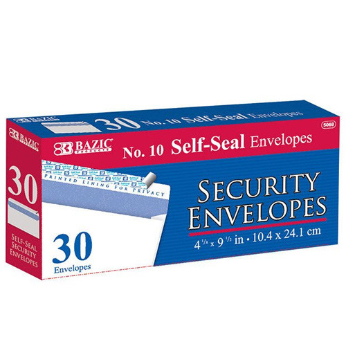 BAZIC #10 Self-Seal Security Envelope (30/Pack)