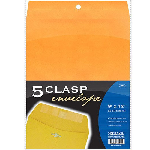 "BAZIC 9"" X 12"" Clasp Envelope (5/Pack)"