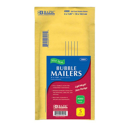 "BAZIC 4"" X 7.25"" (#000) Self-Seal Bubble Mailers (5/Pack)"