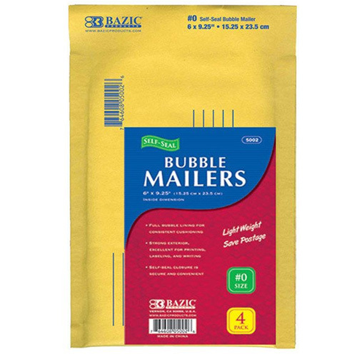 "BAZIC 6"" X 9.25"" (#0) Self-Seal Bubble Mailers (4/Pack)"