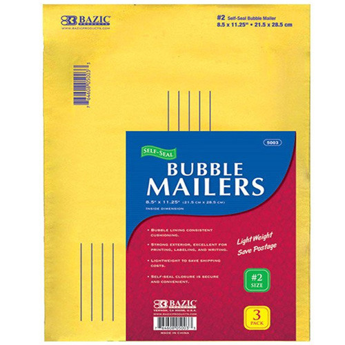 "BAZIC 8.5"" X 11.25"" (#2) Self-Seal Bubble Mailers (3/Pack)"
