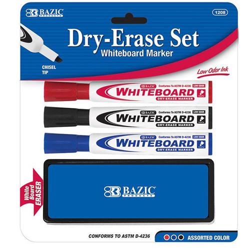 BAZIC 3 Asst. Color Chisel Tip Dry Erase Marker W/ Eraser