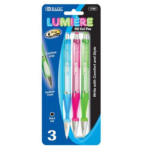BAZIC Lumiere Dazzle Black Oil-Gel Ink Retractable Pen W/ Grip (3/Pack)