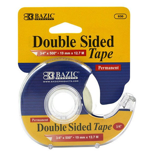 """BAZIC 3/4"""" X 500"""" Double Sided Permanent Tape W/ Dispenser"""