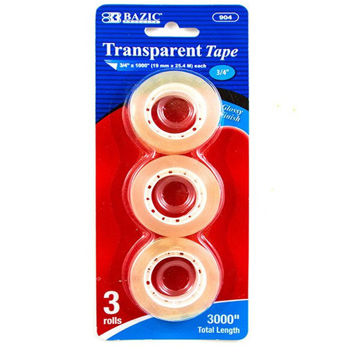 "BAZIC 3/4"" X 1000"" Transparent Tape Refill (3/Pack)"