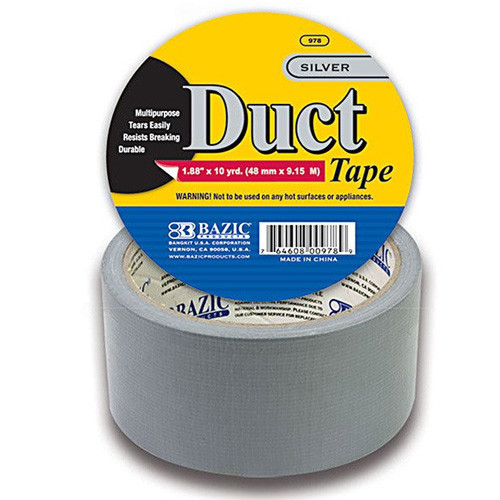 """BAZIC 1.88"""" X 10 Yards Silver Duct Tape"""