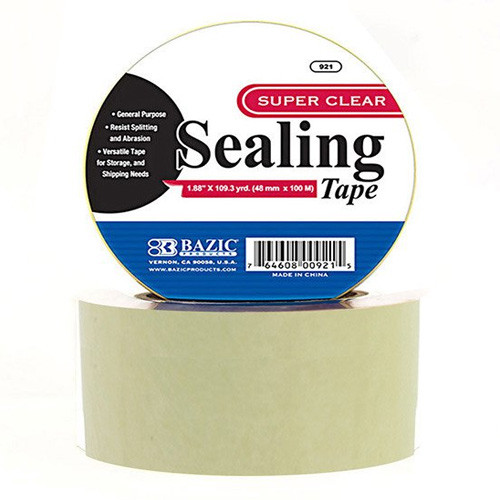 """BAZIC 1.88"""" X 109.3 Yards Clear Packing Tape"""