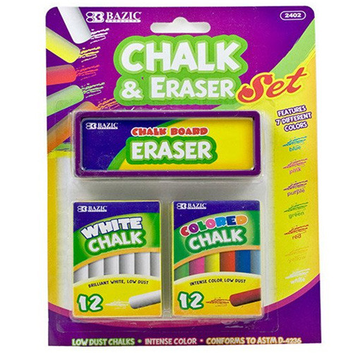 BAZIC 12 Color & 12 White Chalk W/ Eraser Set