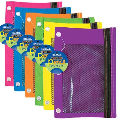 BAZIC Bright Color 3-Ring Pencil Pouch W/ Mesh Window