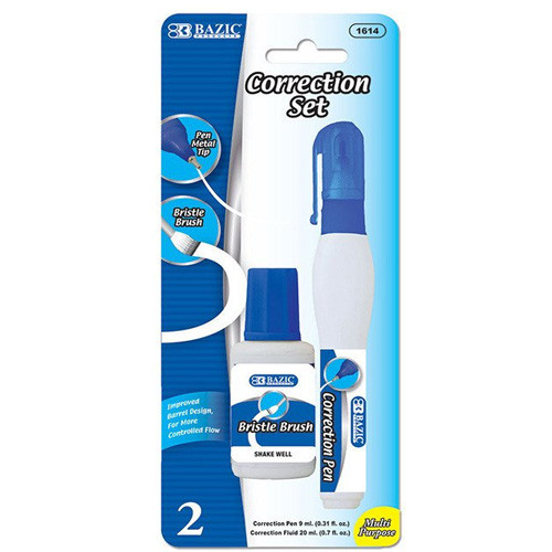 BAZIC Metal Tip Correction Pen & Correction Fluid (2/Pack)