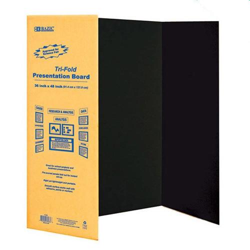 "BAZIC 36"" X 48"" Black Tri-Fold Corrugated Presentation Board"