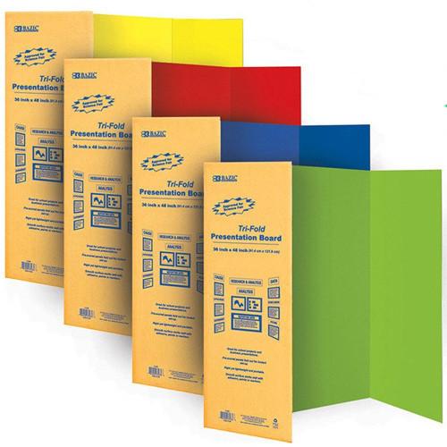 """BAZIC 36"""" X 48"""" Assorted Color Tri-Fold Corrugated Presentation Board"""