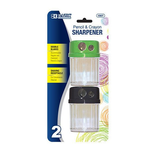 BAZIC Dual Blades Sharpener W/ Round Receptacle (2/Pack)