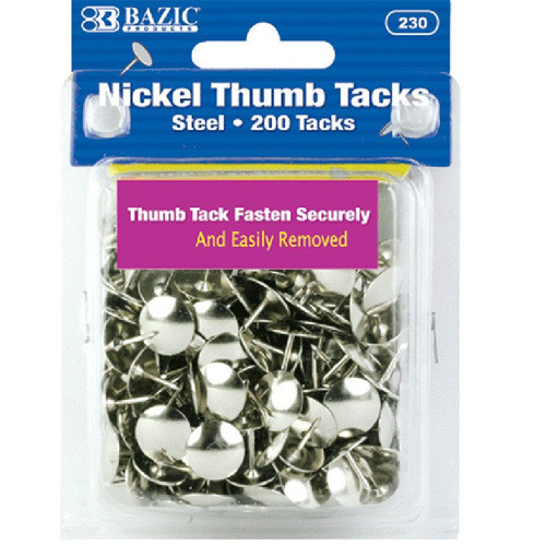 BAZIC Nickel (Silver) Thumb Tack (200/Pack)
