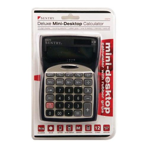 Sentry Mini Desktop Calculator with Clock, Silver