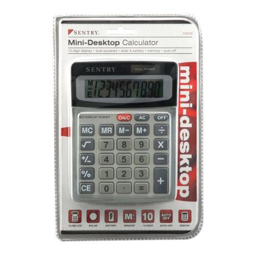 Sentry Mini Desktop Calculator, Silver/Black