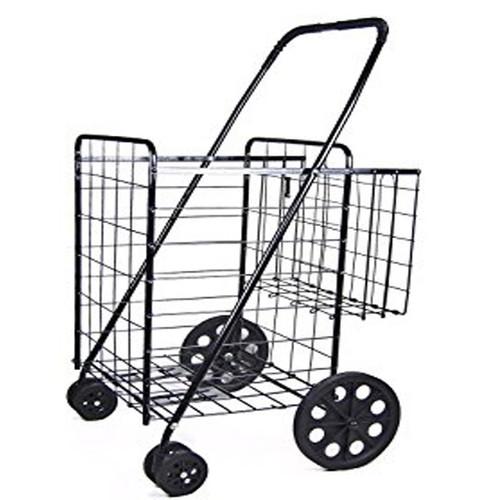 Black JUMBO SHOPPING-laundry folding CART DOUBLE BASKET front moving swivel wheels