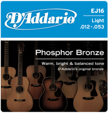 D'addario Phosphor Bronze Acoustic Guitar Light EJ16 Strings