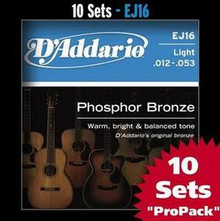 D'addario Phosphor Bronze Acoustic Guitar Light EJ16 Strings - 10 Sets Pro Pack