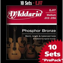 D'addario Phosphor Bronze Acoustic Guitar Medium EJ17 Strings  - 10 sets Pro Pack