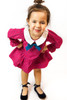 Infant Toddler & Kids Red/Teal Ruffle Dress With Collar