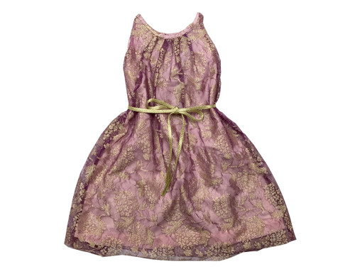Toddler & Kids Purple Blush Floral Sheer-Overlay A-Line Dress