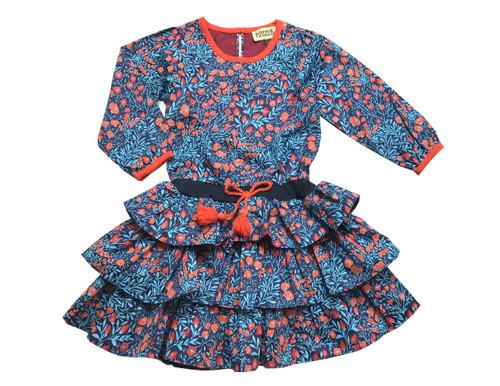 Infant Toddler & Kids Noche Blue Ruffle Dress