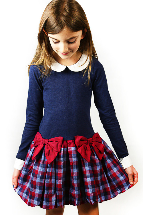 Toddler & Kids Navy/Red Drop-Waist Dress With Collar