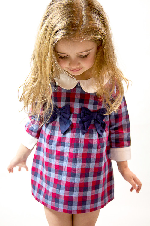 Infant Toddler & Kids Navy/Red High Waist Plaid Dress