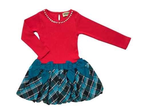 Toddler & Kids Carnation/Teal Drop-Waist Dress