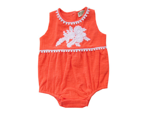 Sample Sale Fluorescent Red Embroidered Romper