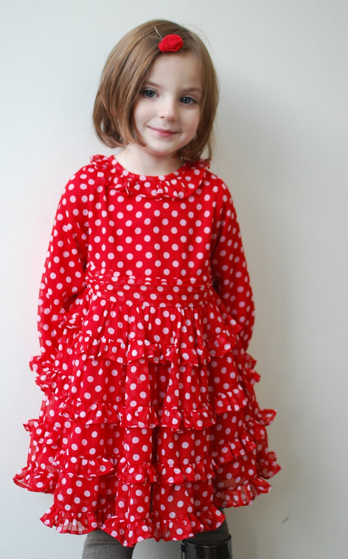 Sample Sale Red Dot Layered Dress-Size7/8Y