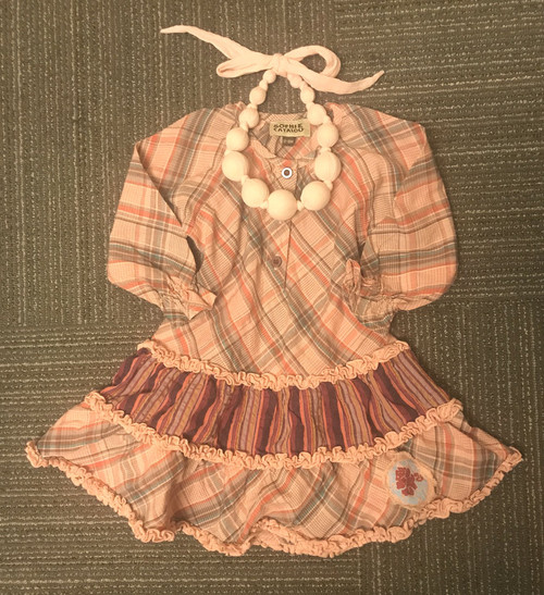 Sample Sale Peach Plaid Long Sleeve Dress