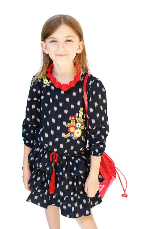 Black & Red Ikat Ruffle-Skirt Drop-Waist Dress