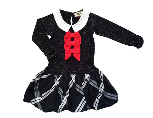 Sample Sale Black Plaid Knit Dress