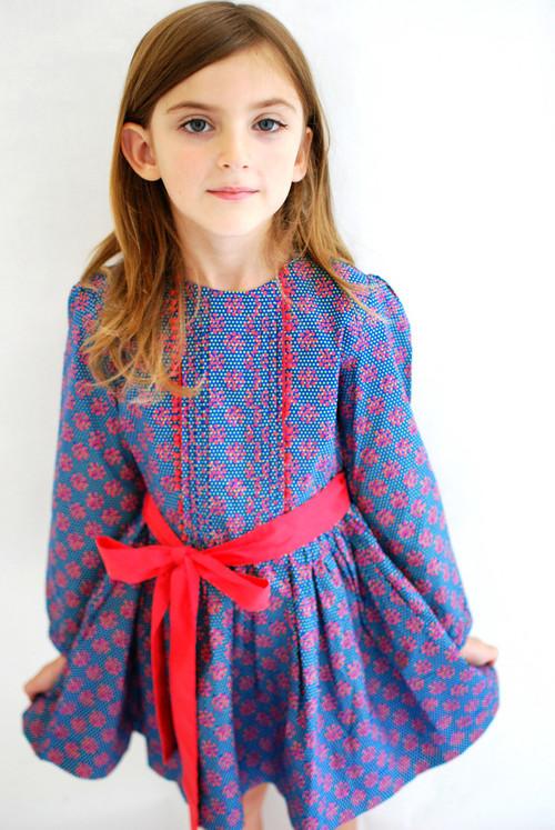 Sample Sale Poppy Blue Dot Peasant Dress