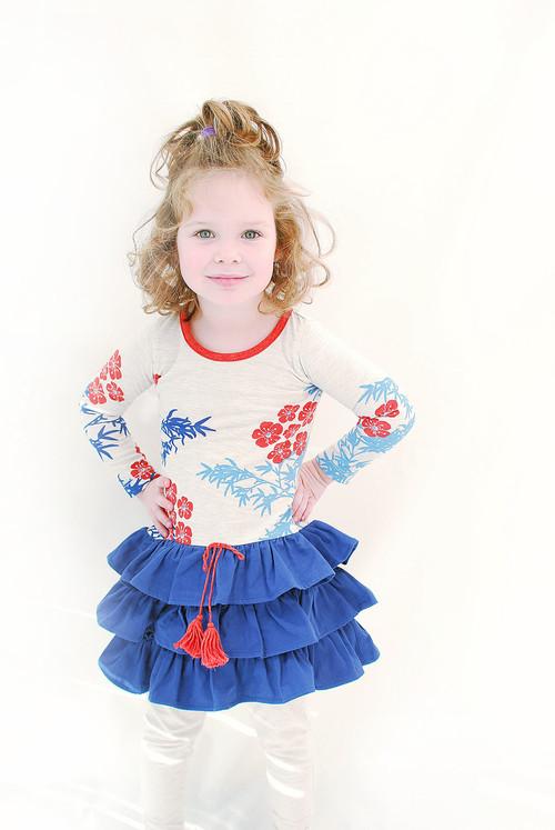 Sample Sale Kimono Print Drop-waist Dress