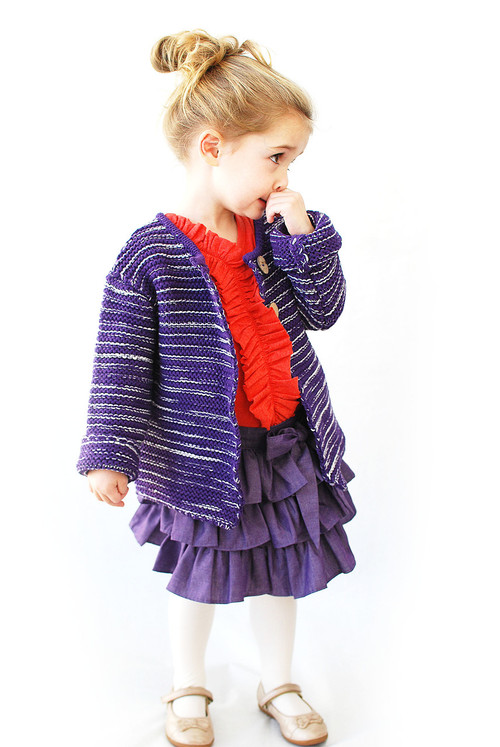 Sample Sale Purple & White Knit Cardigan