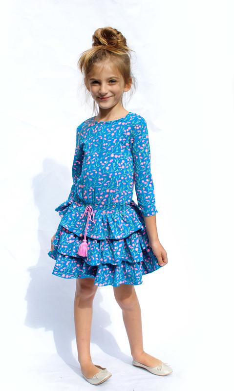 Sample Sale Philly Print Layered Ruffle Dress